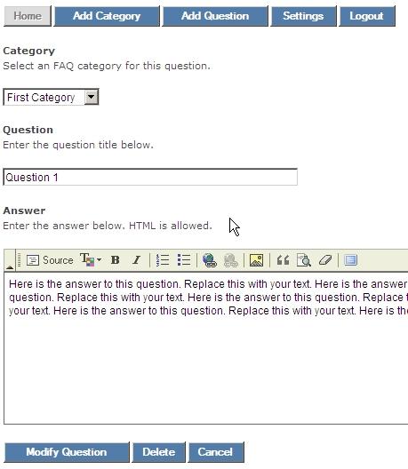 FAQ Manager Admin